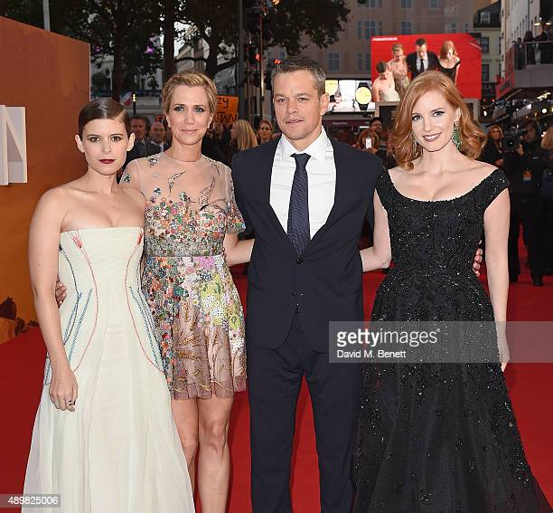 Kate Mara Kristen Wigg Matt Damon and Jessica Chastain attend the European premiere of 'The Martian' at Odeon Leicester Square on September 24 2015...