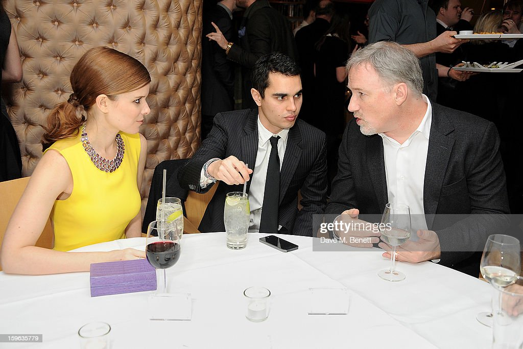 (L to R) Kate Mara, Max Minghella and David Fincher attend an after party celebrating the Red Carpet Premiere of the Netflix original series 'House of Cards' at Asia de Cuba, St Martins Lane Hotel, on January 17, 2013 in London, England.