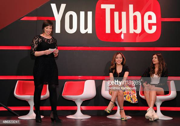 Kate Mason Michelle Phan and Bethany Mota speak onstage at Unleash YouTube Event with stars Michelle Phan Rosanna Pansino And Bethany Mota on April...