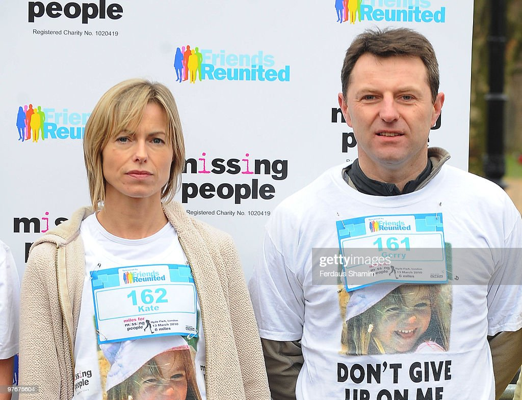 <a gi-track='captionPersonalityLinkClicked' href=/galleries/search?phrase=Kate+McCann&family=editorial&specificpeople=4278082 ng-click='$event.stopPropagation()'>Kate McCann</a> (L) and <a gi-track='captionPersonalityLinkClicked' href=/galleries/search?phrase=Gerry+McCann&family=editorial&specificpeople=4278561 ng-click='$event.stopPropagation()'>Gerry McCann</a>, wearing t-shirts printed with a photo of their missing daughter Madeleine, attend the Miles For Missing People 10km fundraising event at Hyde Park on March 13, 2010 in London, England.