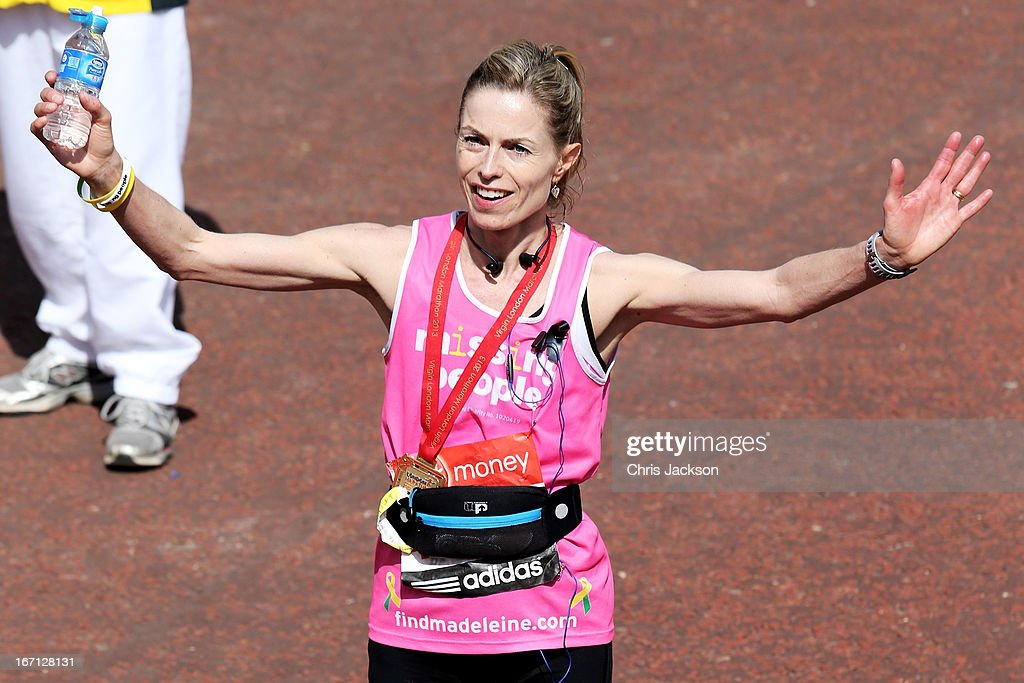 <a gi-track='captionPersonalityLinkClicked' href=/galleries/search?phrase=Kate+McCann&family=editorial&specificpeople=4278082 ng-click='$event.stopPropagation()'>Kate McCann</a> poses after crossing the finish line during the Virgin London Marathon 2013 on April 21, 2013 in London, England.