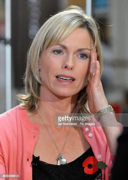 Kate McCann reacts to a question as she and husband Gerry give an interview following the launch of a new video by the Child Exploitation and Online...
