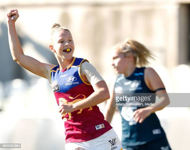 Kate McCarthy of the Lions celebrates a goal during the 2017 AFLW Round 07 match between the Carlton Blues and the Brisbane Lions at Ikon Park on...