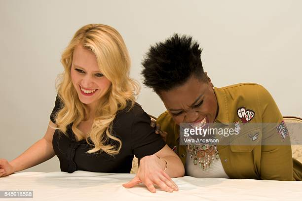 Kate McKinnon and Leslie Jones at the 'Ghostbusters' Press Conference at the Four Seasons Hotel on July 8 2016 in Beverly Hills California