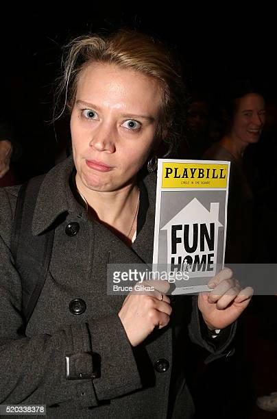 Kate McKinnon poses backstage at the hit musical 'Fun/Home' on Broadway at The Circle in The Square Theatre on April 10 2016 in New York City