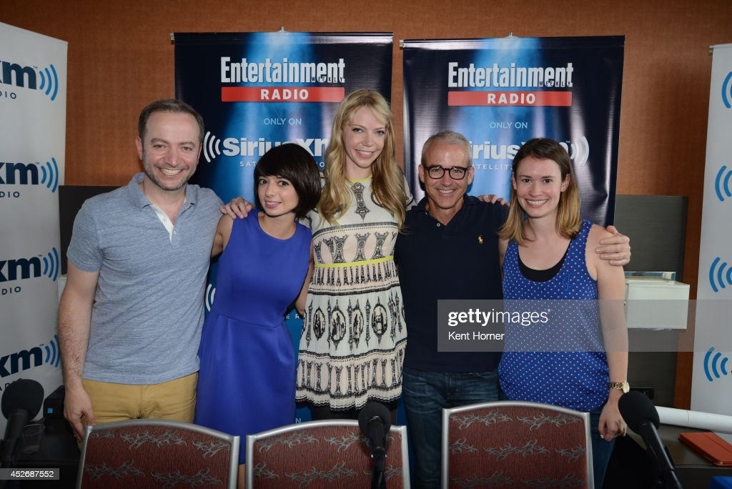 Kate Micucci and Riki Lindhome pose with radio hosts Mario Correa Julia Cunningham and Jess Cagle after being interviewed on SiriusXM's Entertainment Weekly Radio channel from Comic-Con 2014 at The Hard Rock Hotel on July 25, 2014 in San Diego, California.