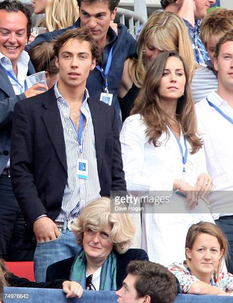Kate Middleton and a friend watch the Concert for Diana at Wembley Stadium on July 1 2007 in London England The Concert falls on the date that would...