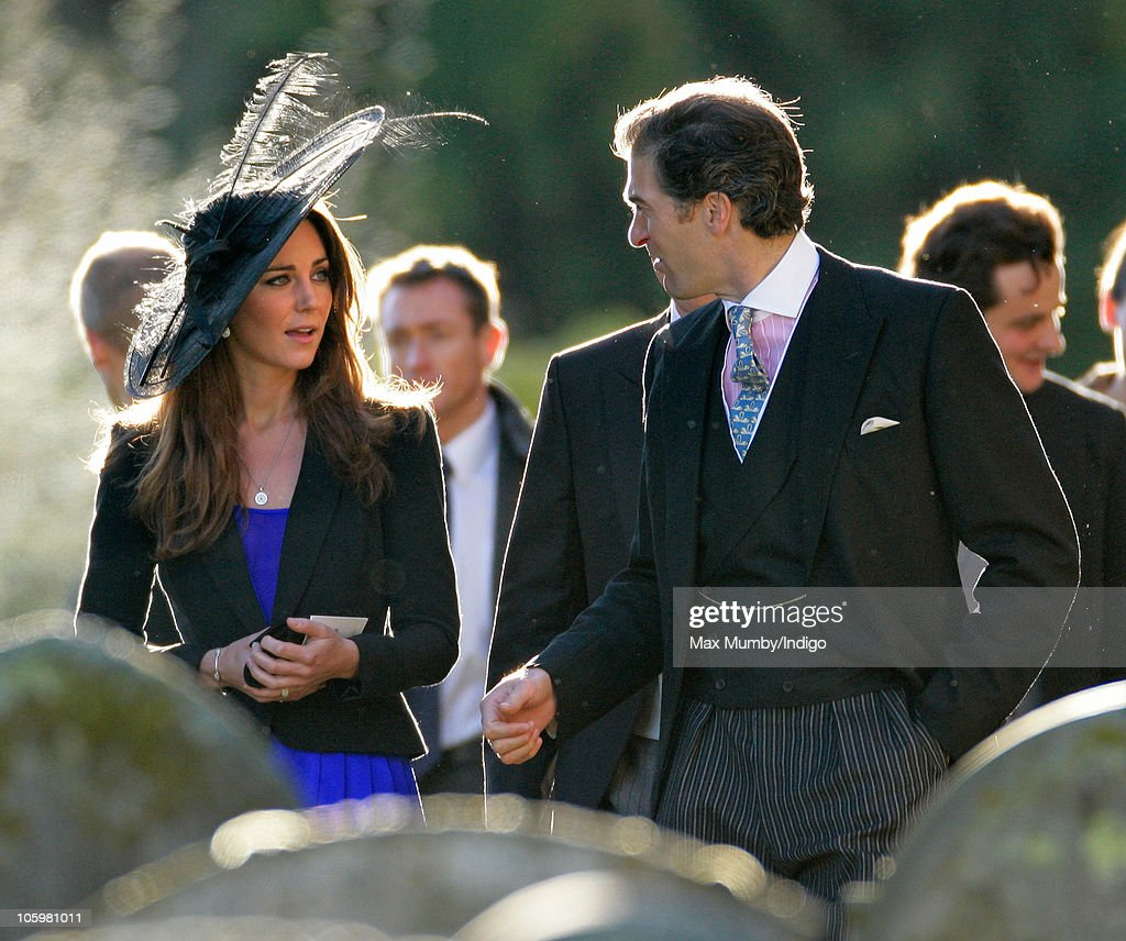 Kate Middleton and Edward van Cutsem attend Harry Meade & Rosie Bradford's wedding at the Church of St. Peter and St. Paul, Northleach, on October 23, 2010 in Cheltenham, England.