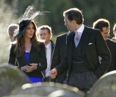 Kate Middleton and Edward van Cutsem attend Harry Meade Rosie Bradford's wedding at the Church of St Peter and St Paul Northleach on October 23 2010...