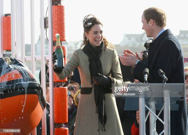 Kate Middleton and Prince William launch the new Hereford Endeavour lifeboat as they visit Trearddur Bay Lifeboat Station at Anglesey on February 24...