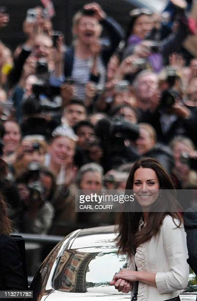Kate Middleton arrives at the Goring Hotel in central London on April 28 where she will be staying prior to the royal wedding Britain's Prince...