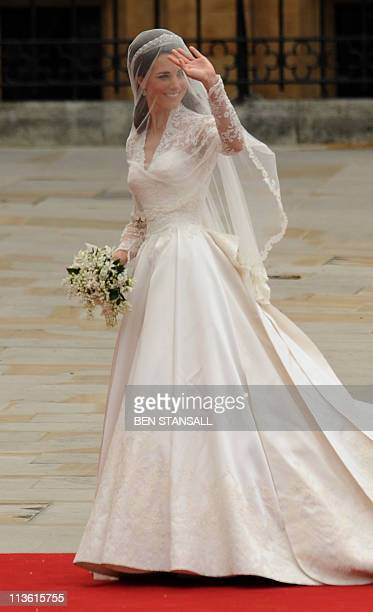 Kate Middleton arrives at the West Door of Westminster Abbey for the wedding of Britain's Prince William and Kate Middleton in London on April 29...