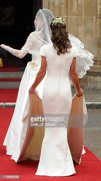 Kate Middleton arrives her sister the Maid of Honour Philippa Middleton to Westminster Abbey in London for her wedding to Britain's Prince William on...