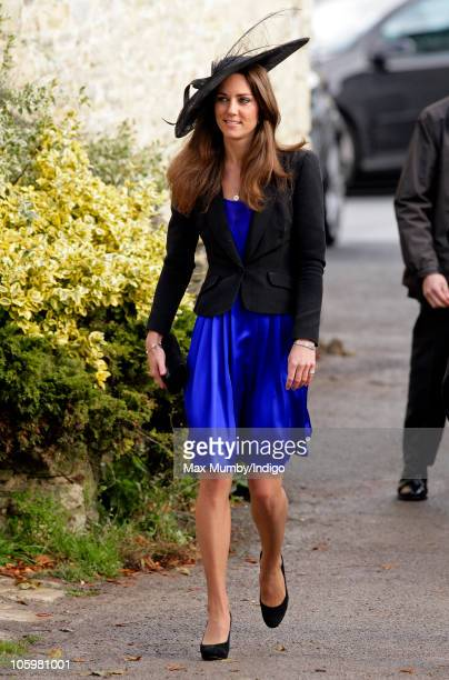 Kate Middleton attends Harry Meade Rosie Bradford's wedding at the Church of St Peter and St Paul Northleach on October 23 2010 in Cheltenham England