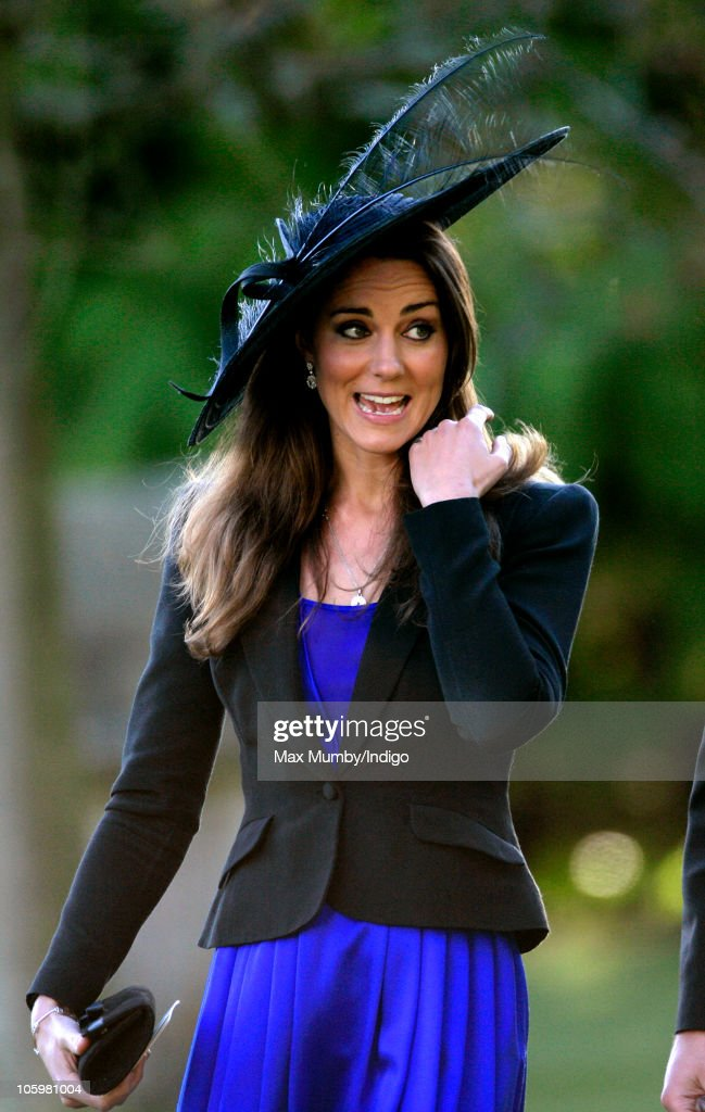 Kate Middleton attends Harry Meade & Rosie Bradford's wedding at the Church of St. Peter and St. Paul, Northleach, on October 23, 2010 in Cheltenham, England.