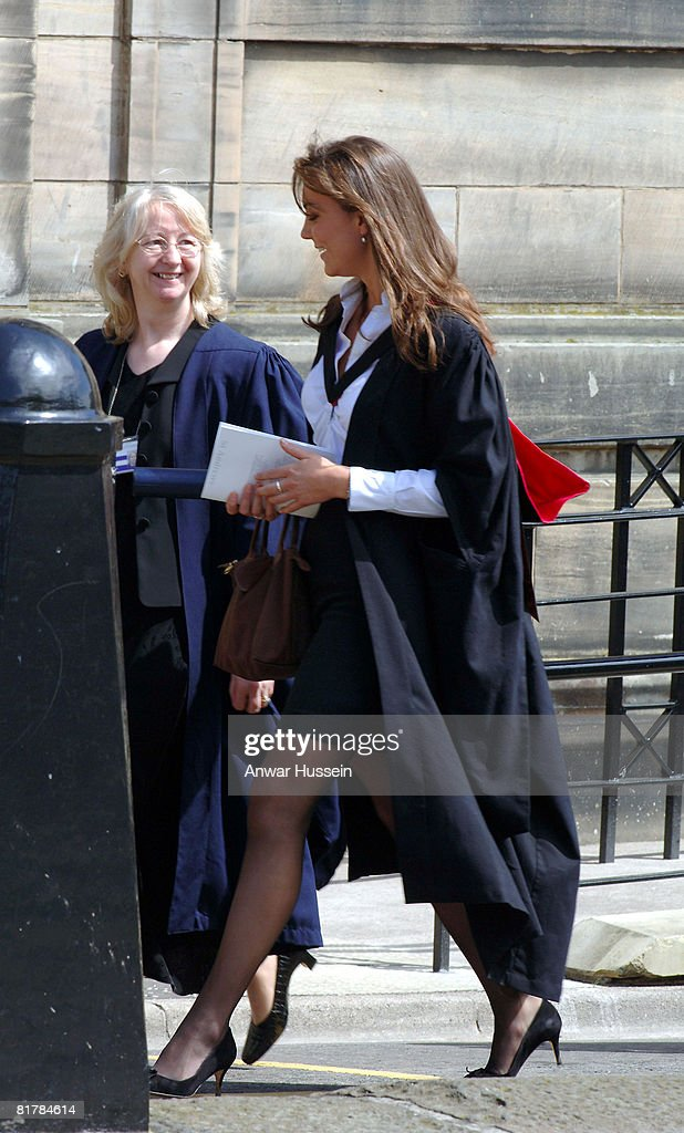 Kate Middleton attends the graduation ceremony at the University of St Andrews on June 15 2005 in St Andrew's Scotland Prince William receives his 21...