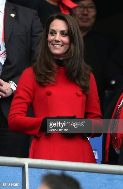 Kate Middleton attends the RBS 6 Nations rugby match between France and Wales at Stade de France on March 18 2017 in SaintDenis near Paris France