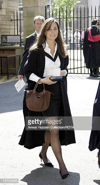 Kate Middleton girlfriend of Prince William during their graduation ceremony at St Andrews Thursday June 23 2005 William got a 21 in geography after...