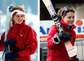In this photo composite image a comparison has been made between Left KLOSTERS SWITZERLAND FEBRUARY 06 Princess Diana On A Skiing Holiday The...