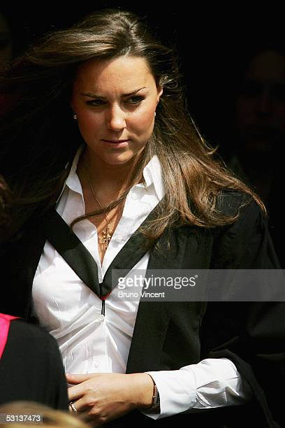 Kate Middleton leaves Younger Hall after her graduation ceremony June 23 2005 in St Andrews Scotland The Prince who earnt a 21 class Ma in Geography...