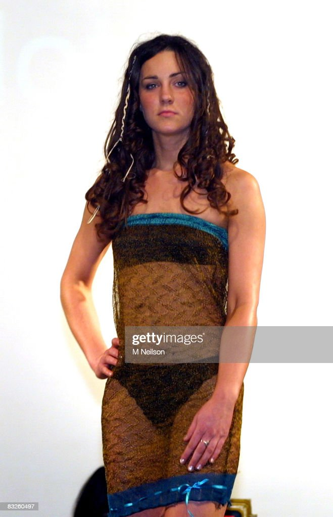 (MINIMUM FEES APPLY - £50 for Web (for 1 year), £100 for press, £200 for magazines, £300 for tv (for 3 years) & £300 for books) Kate Middleton models on the catwalk at a student fashion show attended by Prince William, on March, 26, 2002 in St.Andrews, Scotland.