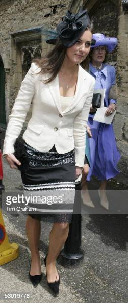 Kate Middleton Prince William's girlfriend appears among guests at the society wedding of Hugh Van Cutsem Junior to Rose Astor at Burford Parish...