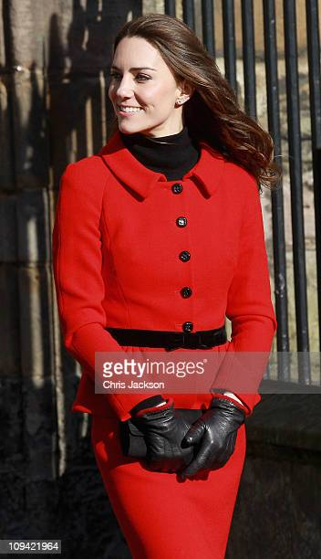 Kate Middleton smiles as she meets members of the public during a visit to the University of St Andrews on February 25 2011 in St Andrews Scotland...