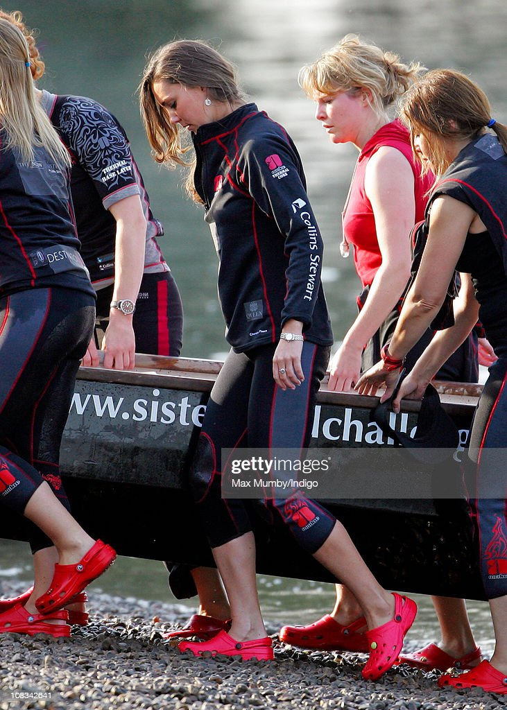 Kate Middleton takes part in a training session with the Sisterhood cross Channel rowing team, on the River Thames on August 01, 2007 in London, England.
