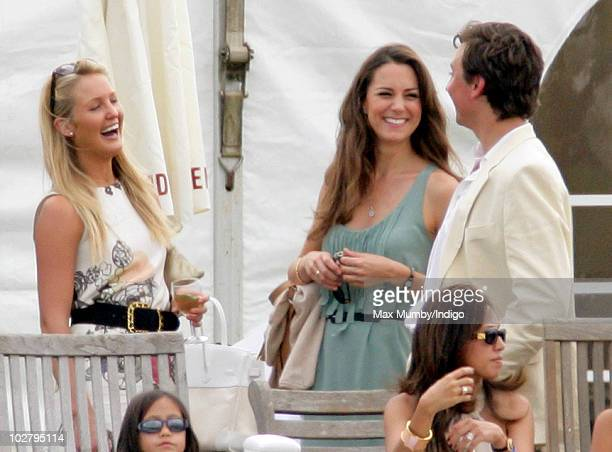 Kate Middleton watches Prince William and Prince Harry play in the Chakravarty Cup polo match at the Beaufort Polo Club on July 10 2010 in Tetbury...