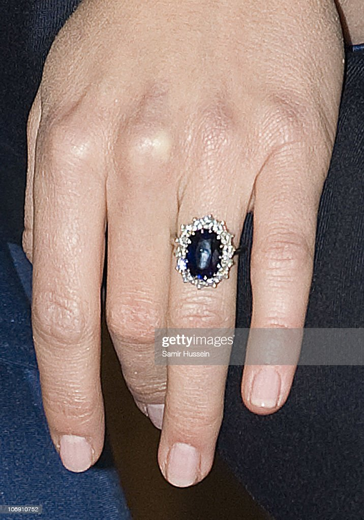 Kate Middleton's engagement ring is seen on Kate Middleton's and hand as Prince William and Kate Middleton officially announce their engagement at St James's Palace on November 16, 2010 in London, England. After much speculation, Clarence House today announced the engagement of Prince William to Kate Middleton. The couple will get married in either the Spring or Summer of next year and continue to live in North Wales while Prince William works as an air sea rescue pilot for the RAF. The couple became engaged during a recent holiday in Kenya having been together for eight years.