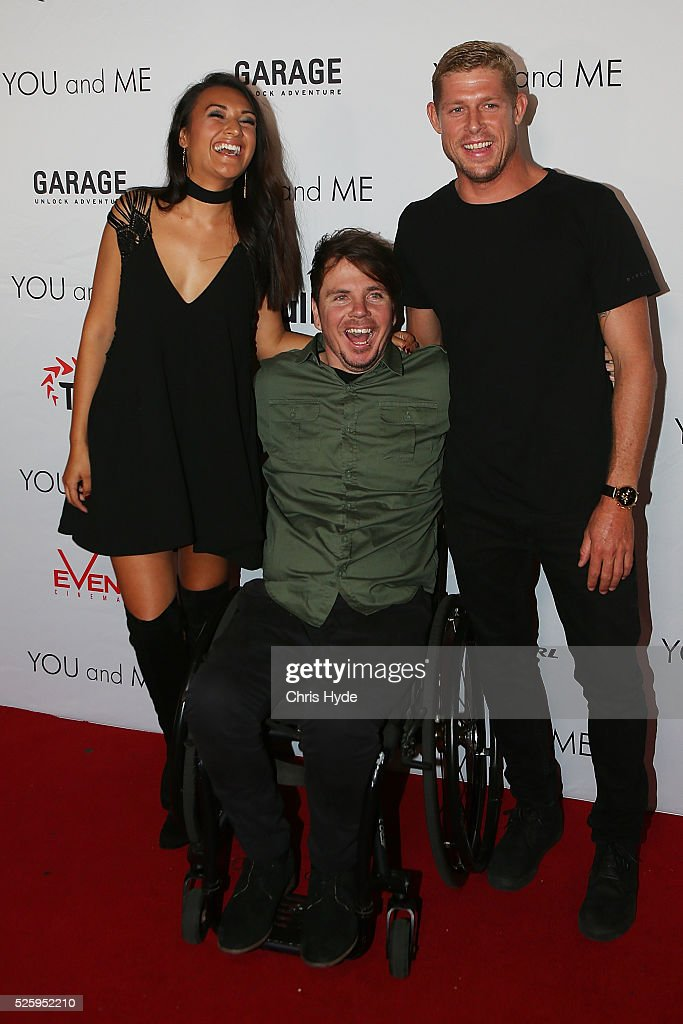Kate Miller, Barney Miller and Mick Fanning arrive ahead of Gold Coast premiere of 'YOU and ME' at Event Cinemas Pacific Fair on April 29, 2016 in Gold Coast, Australia.