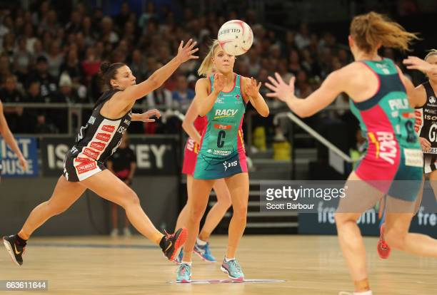 Kate Moloney of the Vixens and Madi Robinson of the Magpies compete for the ball during the round seven Super Netball match between the Magpies and...