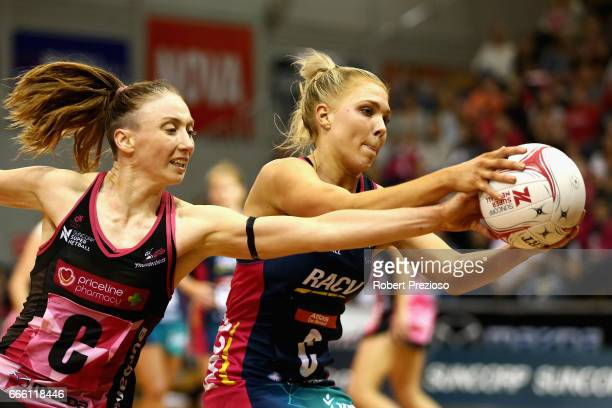 Kate Moloney of the Vixens gathers the ball during the round eight Super Netball match between the Thunderbirds and the Vixens at Priceline Stadium...