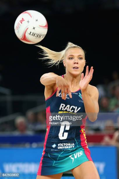 Kate Moloney of the Vixens makes a pass during round one of the Super Netball match between the Vixens and Magpies at Hisense Arena on February 18...