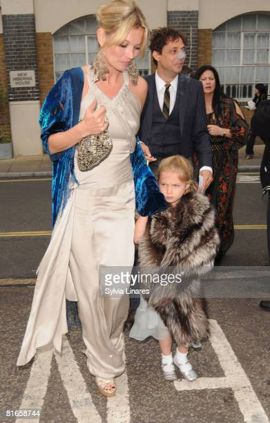 Kate Moss and daughter Lila Moss attend Leah Wood and Jack MacDonald's Wedding on June 21 2008 in London England