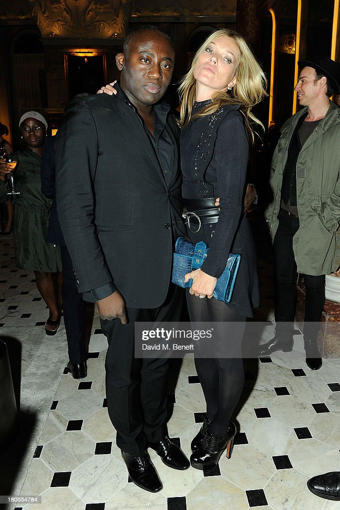 <a gi-track='captionPersonalityLinkClicked' href=/galleries/search?phrase=Kate+Moss&family=editorial&specificpeople=201830 ng-click='$event.stopPropagation()'>Kate Moss</a> and Edward Enninful attend The London Edition opening celebrating the September issue of W Magazine at The London Edition Hotel on September 14, 2013 in London, England.