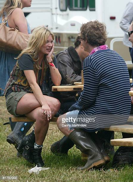Kate Moss and guests are seen during day two of the 2008 Glastonbury Festival on June 28 2008 in Glastonbury Somerset England