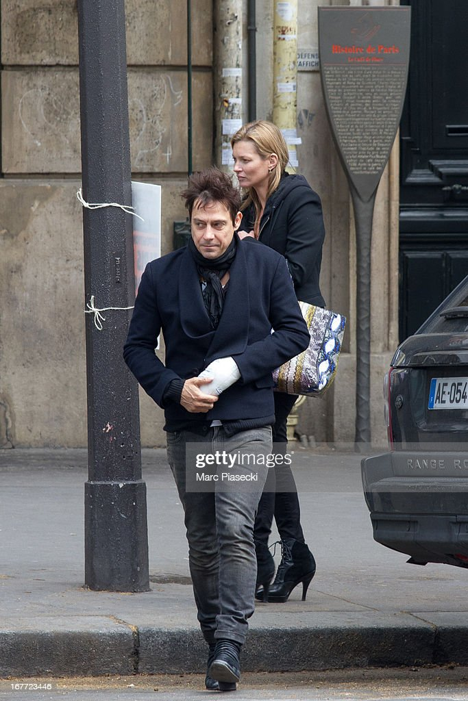 Kate Moss and Jamie Hince are sighted leaving the 'Cafe de Flore' on April 28 2013 in Paris France