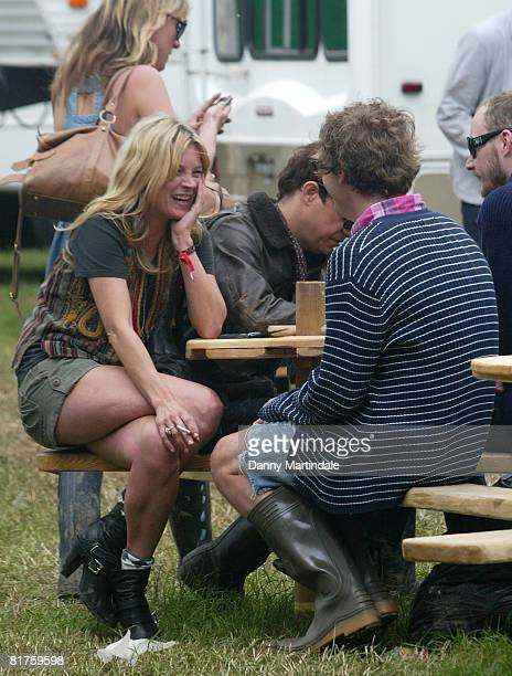 Kate Moss and Jamie Hince at the Glastonbury festival 2008 on June 27 2008 in Glastonbury England