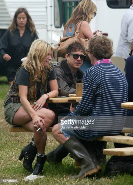 Kate Moss and Jamie Hince at the Glastonbury festival 2008 on June 28 2008 in Glastonbury England
