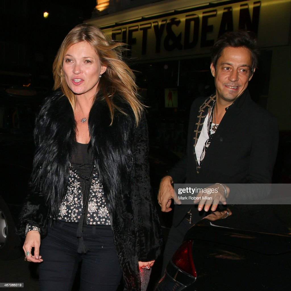 Kate Moss and Jamie Hince at the Groucho club on February 5, 2014 in London, England.