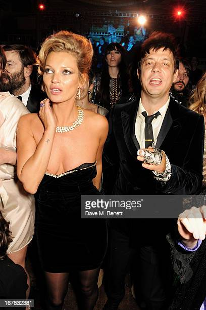 Kate Moss and Jamie Hince attend Fran Cutler's surprise birthday party supported by ABSOLUT Elyx at The Box Soho on April 30 2013 in London England