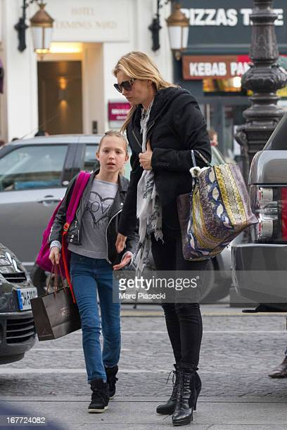 Kate Moss and Lila Grace Moss are sighted at the 'Gare du Nord' station on April 28 2013 in Paris France