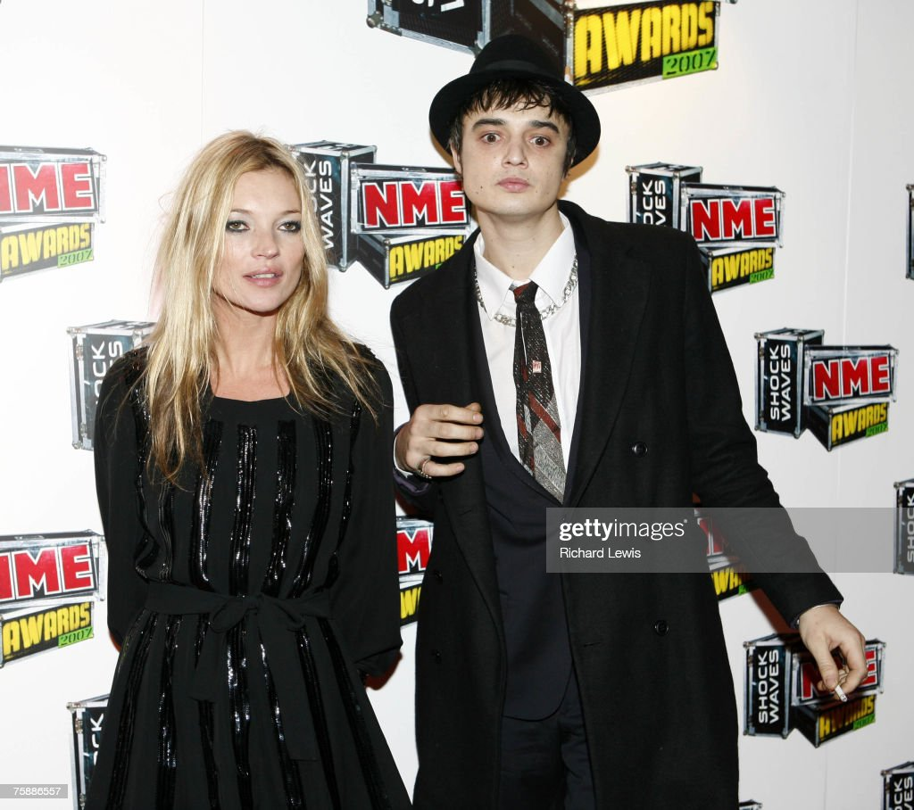 Kate Moss and Pete Doherty arrive at the Shockwaves NME Awards 2007