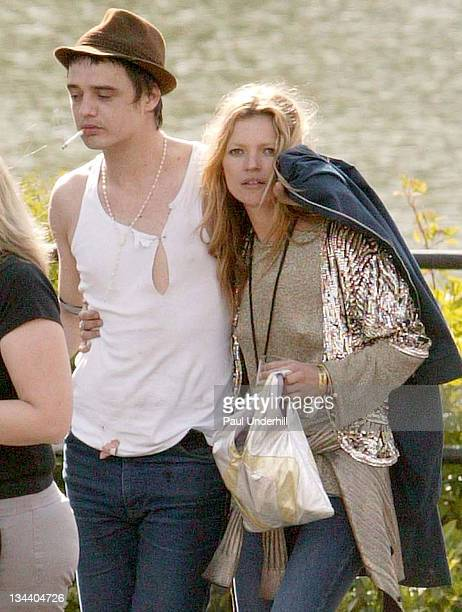 Kate Moss and Pete Doherty during 2005 Isle Of Wight Festival Day 2 Backstage at Seaclose Park in Newport Great Britain