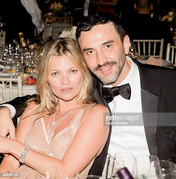 Kate Moss and Ricardo Tisci attend the 5th Annual amfAR Inspiration Gala at the home of Dinho Diniz on April 10 2015 in Sao Paulo Brazil