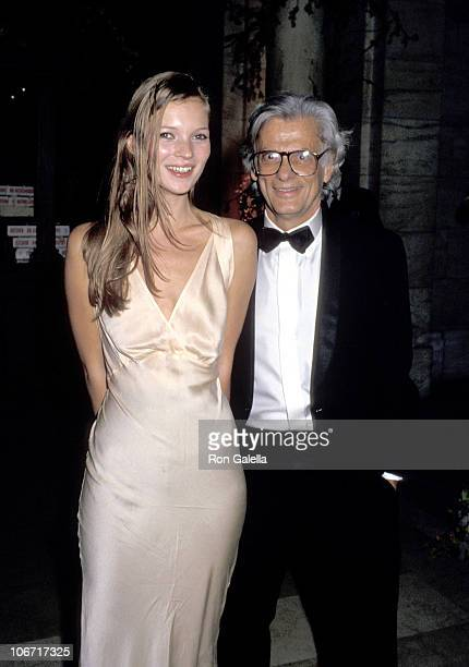Kate Moss and Richard Avedon during Dinner Party Honoring Richard Avedon Hosted by Random House and The New Yorker September 27 1993 in New York City...