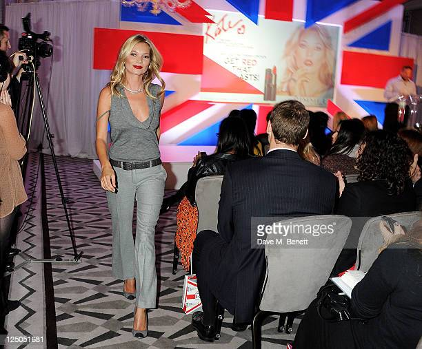 Kate Moss and Senior Vice President of Global Marketing COTY Beauty Stephen Mormoris attend a global press conference celebrating Rimmel's 10 year...
