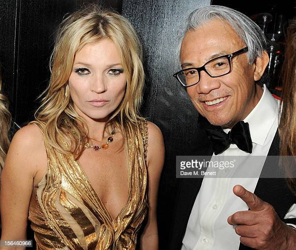 Kate Moss and Sir David Tang attend an after party celebrating the launch of 'Kate The Kate Moss Book' hosted by Marc Jacobs published by Rizzoli New...