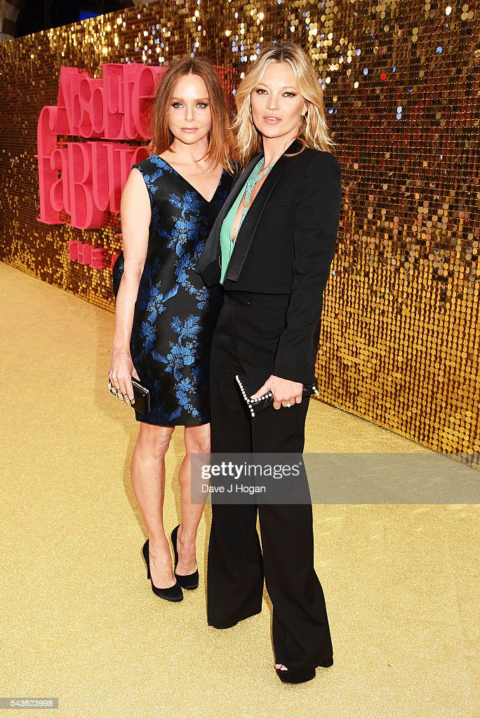 Kate Moss (R) and Stella McCartney attend the World Premiere of 'Absolutely Fabulous: The Movie' at Odeon Leicester Square on June 29, 2016 in London, England.